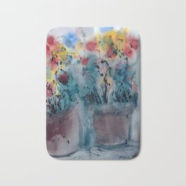 Flower Pots, An image of one my watercolor paintings Bath Mat