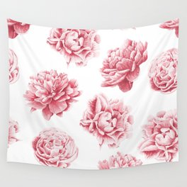 Pink Rose Garden on White Wall Tapestry