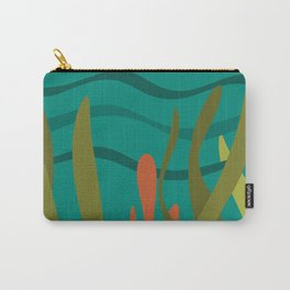 Oceanscape Teal - Undersea Ocean Abstract in Mid Century Modern Colors  Carry-All Pouch