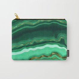 Gold And Malachite Marble Carry-All Pouch