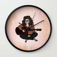 megan lara Wall Clocks featuring Lara by Ilse Busschers