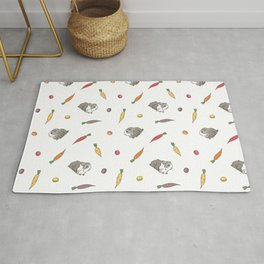 Carrot and Silkie Guinea Pig pattern in White Background Silkie Guinea Pigs illustration Rug