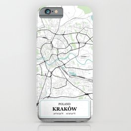 Krakow Poland City Map with GPS Coordinates iPhone Case