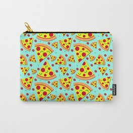 Pepperoni Pizza Slices Pattern on Sky Blue Carry-All Pouch