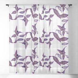 Violet Leaves Sheer Curtain