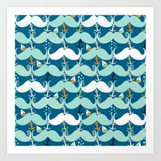 Mustache Waves Art Print