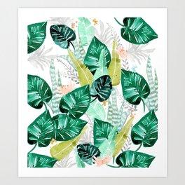 Tropical jungle white Art Print