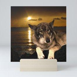 Dog German Shepherd and Sunset Mini Art Print