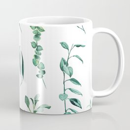 Green leaves watercolor pattern Coffee Mug