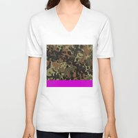 jay fleck V-neck T-shirts featuring Magenta Fleck Tarn Camo by Derek Boman