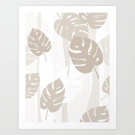 Beige Leaves Art Print