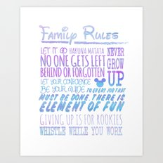 our family rules  Art Print