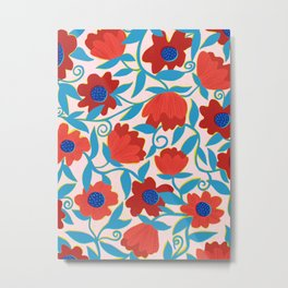 Sunlit Flowers in Red Metal Print