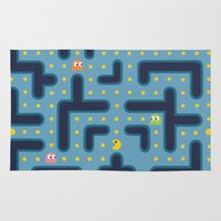pacman Area & Throw Rugs featuring RETRO GAME by Vickn