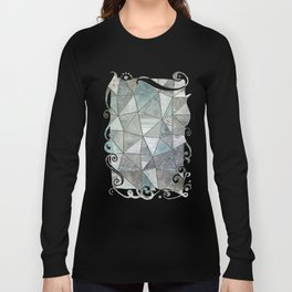 Teal And Grey Triangles Stained Glass Style Long Sleeve T-shirt