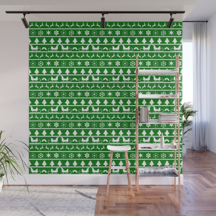 Green & White Nordic Ugly Sweater Christmas Pattern Wall Mural
