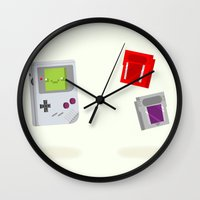 games Wall Clocks featuring Gameboy & Games by Derek Temple