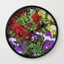 Red Purple Yellow Flowers by Daniel MacGregor Wall Clock