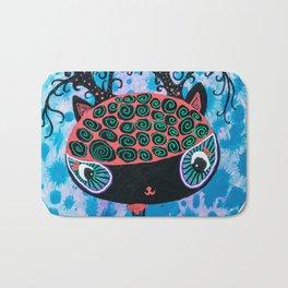 Black Cat with Buff Coolnet Big head cat round circle painting Bath Mat