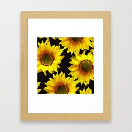 Large Sunflowers on a black background #decor #society6 #buyart Framed Art Print