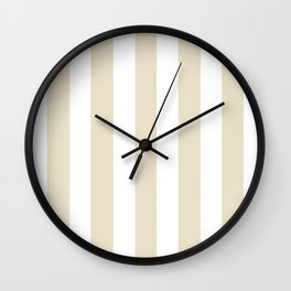 Pearl grey - solid color - white vertical lines pattern Wall Clock