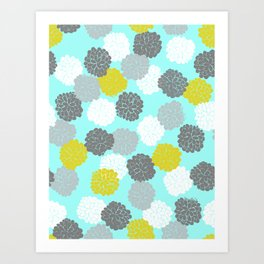Block Printed Floral Art Print