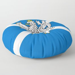 Blue and White Scottish Flag with White Lion Floor Pillow