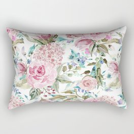 Country chic blush pink teal lavender watercolor floral Rectangular Pillow