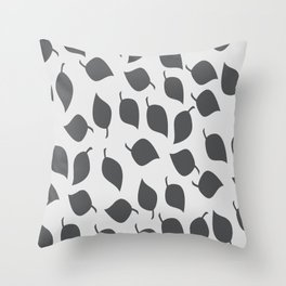 Leaves in Grey and Light Grey Throw Pillow