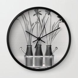 Daffodils in Milk Bottles Wall Clock