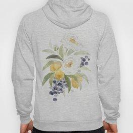 Watercolor Flowers with Blueberries Hoody
