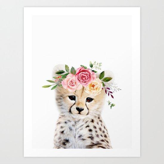 Baby Cheetah with Flower Crown by amypetersonartstudio