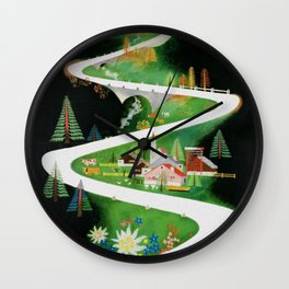 Switzerland - Vintage French Travel Poster Wall Clock