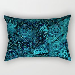 Starry Deep Blue Night Sky , Abstract Geometric Pattern with Moon Lit Domino Stars Rectangular Pillow
