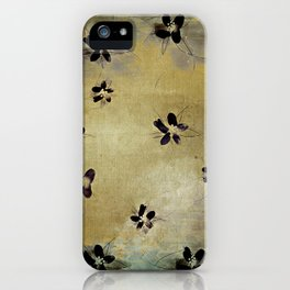 posies on vintage linen iPhone Case