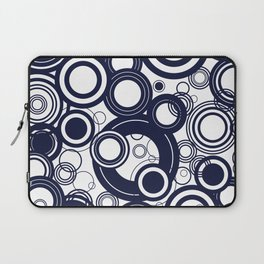 Contemporary Circles Modern Geometric Pattern in Navy Blue and White Laptop Sleeve