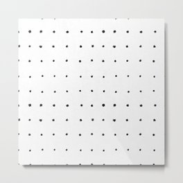 Dot Grid Black and White Metal Print