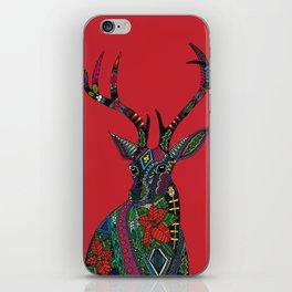 poinsettia deer red iPhone Skin