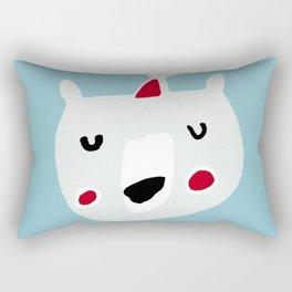 Cute holiday bear blue Rectangular Pillow