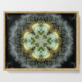 Dandelion Kaleidoscope Mandala, Scanography Art Serving Tray