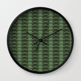 Geometric pattern with waves and pebbles in green Wall Clock