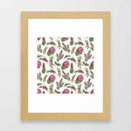 Watercolour Australian Native Floral Print - Bottlebrush and Protea Framed Art Print