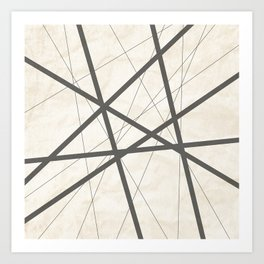 Black Lines Retro Texture Art Print