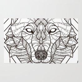 Geometric Wolf Rug