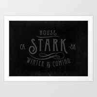 house stark Art Prints featuring House Stark Typography by P3RF3KT