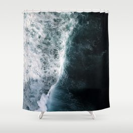 Oceanscape - White and Blue Shower Curtain