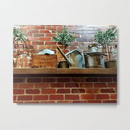 Brick Wall Shelf Metal Print