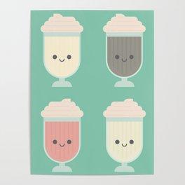 Cute Kawaii Milkshakes Poster