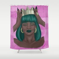 girl power Shower Curtains featuring Power by SS-Creative