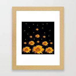 GOLDEN STARS YELLOW SUNFLOWERS  BLACK COLOR Framed Art Print